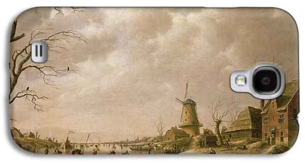 Windmill Galaxy S4 Cases - Skaters on a Frozen Canal Galaxy S4 Case by Hendrik Willem Schweickardt