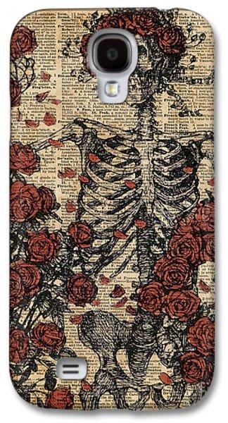 Skeleton Art, Skeleton With Roses Book Art,human Anatomy Galaxy S4 Case