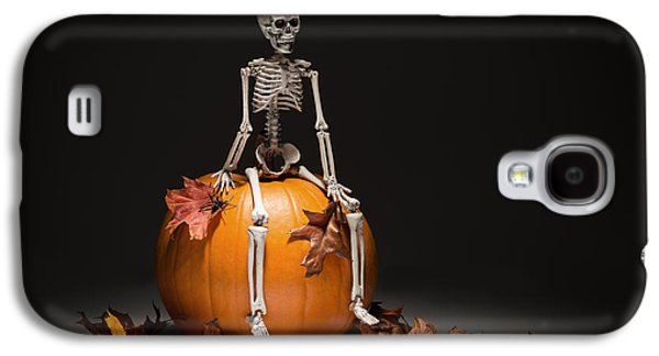 Skeleton With Pumpkin And Leaves Galaxy S4 Case by Amanda Elwell