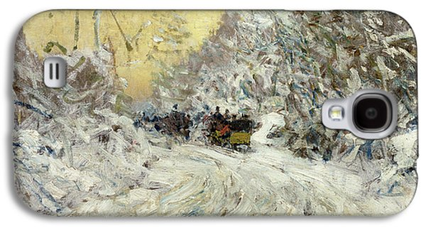 Sleigh Ride In Central Park Galaxy S4 Case by Childe Hassam
