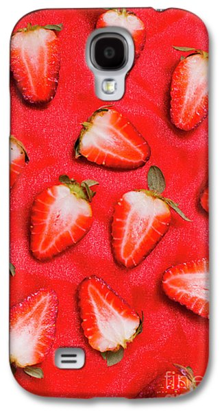 Sliced Red Strawberry Background Galaxy S4 Case