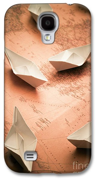 Small Paper Boats On Top Of Old Map Galaxy S4 Case by Jorgo Photography - Wall Art Gallery