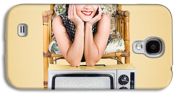 Smiling Beautiful Woman At Rest On Old Television Galaxy S4 Case by Jorgo Photography - Wall Art Gallery