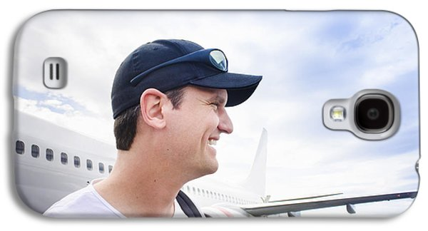 Smiling Travelling Man Standing On Airport Tarmac Galaxy S4 Case by Jorgo Photography - Wall Art Gallery