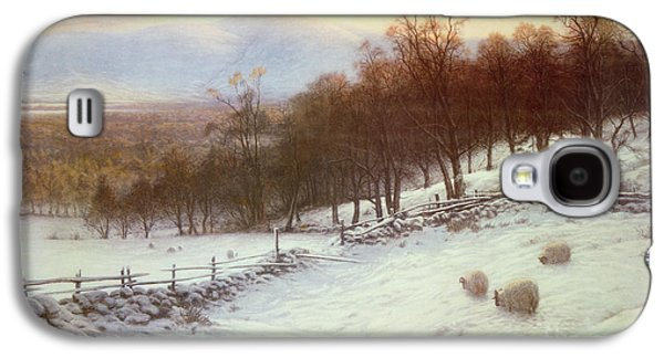 Snow Covered Fields With Sheep Galaxy S4 Case by Joseph Farquharson