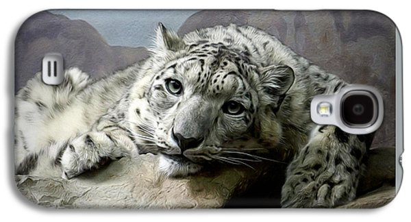 Snow Leopard Relaxing Digital Art Galaxy S4 Case