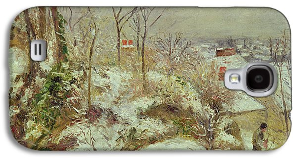 Snow Paintings Galaxy S4 Cases - Snow Scene Galaxy S4 Case by Camille Pissarro
