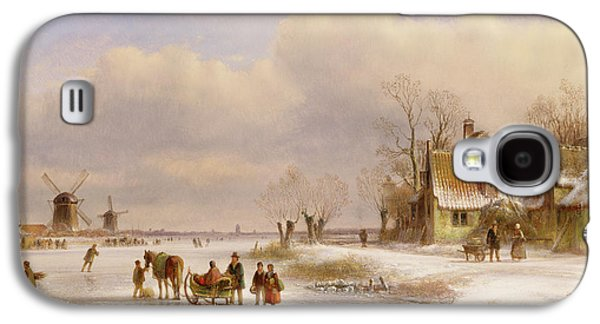 Snow Scene With Windmills In The Distance Galaxy S4 Case