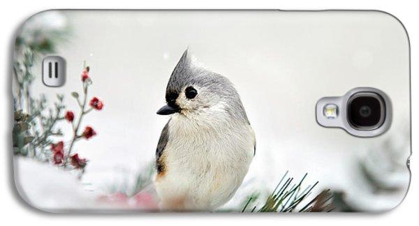 Snow White Tufted Titmouse Galaxy S4 Case