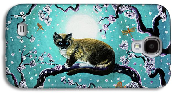Snowshoe Cat And Dragonfly In Sakura Galaxy S4 Case by Laura Iverson