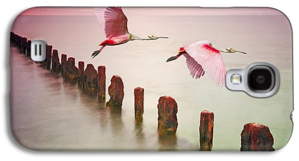 Spoonbill Galaxy S4 Case - Soaring Spoonbills by Laura D Young