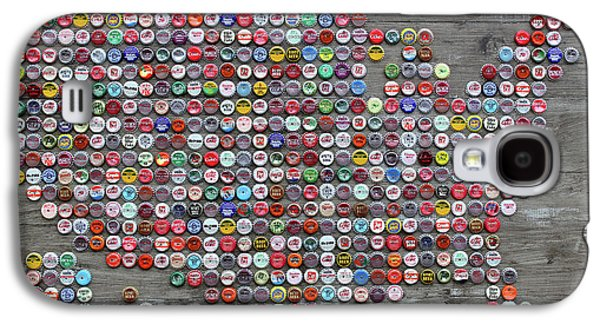Soda Pop Bottle Cap Map Of The United States Of America Galaxy S4 Case by Design Turnpike
