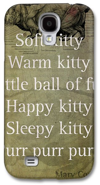 Soft Kitty Warm Kitty Poem Quotation Big Bang Theory Inspired Sheldon Cooper Mother On Worn Canvas Galaxy S4 Case by Design Turnpike