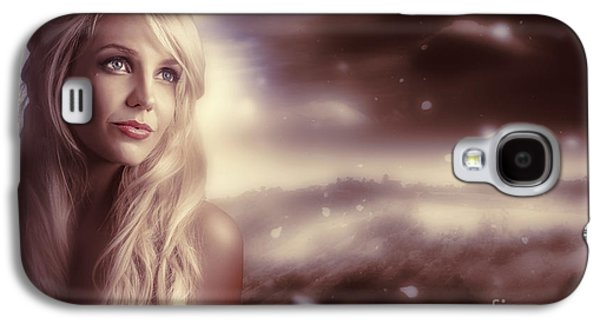 Soft Young Elegant European Woman In Winter Snow  Galaxy S4 Case by Jorgo Photography - Wall Art Gallery