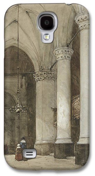 South Aisle Of The Grote Kerk In The Hague, With Seventeenth-century Figures Galaxy S4 Case