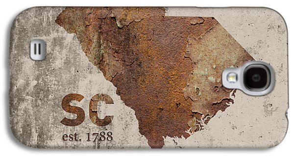 South Carolina State Map Industrial Rusted Metal On Cement Wall With Founding Date Series 010 Galaxy S4 Case by Design Turnpike