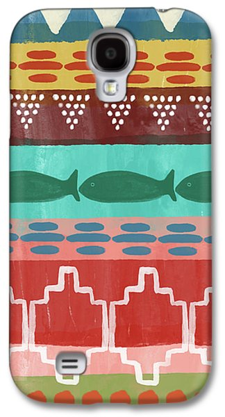 Peach Galaxy S4 Case - Southwest With Fish- Art By Linda Woods by Linda Woods