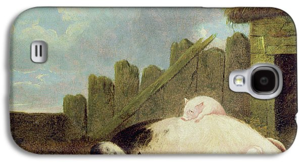 Sow With Piglets In The Sty  Galaxy S4 Case by John Frederick Herring Snr