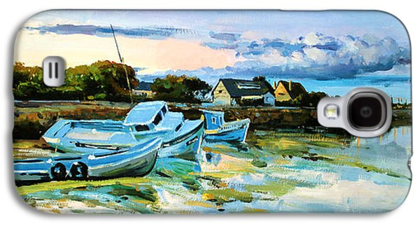 Boats In Water Paintings Galaxy S4 Cases - Spiddal Harbour Galaxy S4 Case by Conor McGuire