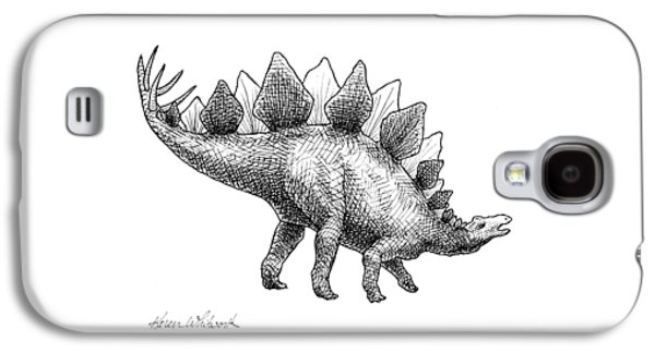 Spike The Stegosaurus - Black And White Dinosaur Drawing Galaxy S4 Case