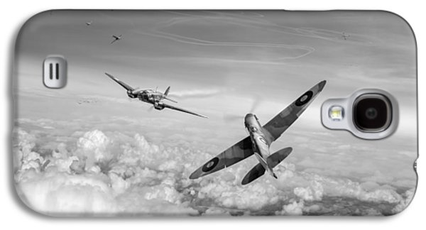 Galaxy S4 Case featuring the photograph Spitfire Attacking Heinkel Bomber Black And White Version by Gary Eason