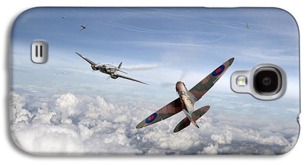 Galaxy S4 Case featuring the photograph Spitfire Attacking Heinkel Bomber by Gary Eason