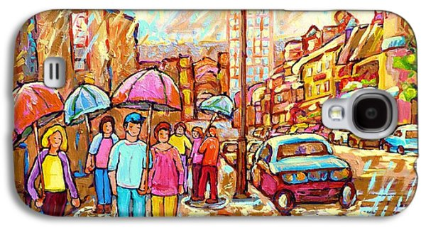 Spring Showers In The City Rainy Umbrella Day Canadian Street Scene Painting Carole Spandau          Galaxy S4 Case by Carole Spandau