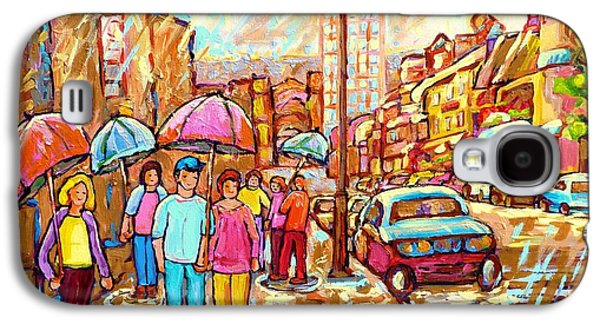 Spring Showers In The City Rainy Umbrella Day Canadian Street Scene Painting Carole Spandau          Galaxy S4 Case
