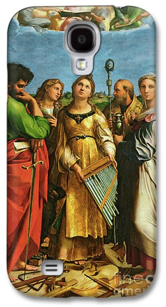 St Cecilia Surrounded By St Paul, St John The Evangelist, St Augustine And Mary Magdalene Galaxy S4 Case by Raphael