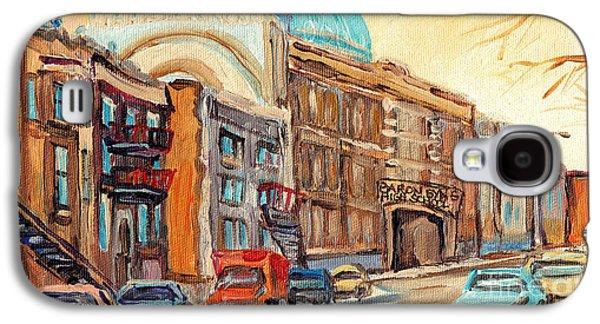 St Urbain Street Scene Baron Byng High School Painting Montreal Memories Carole Spandau              Galaxy S4 Case by Carole Spandau
