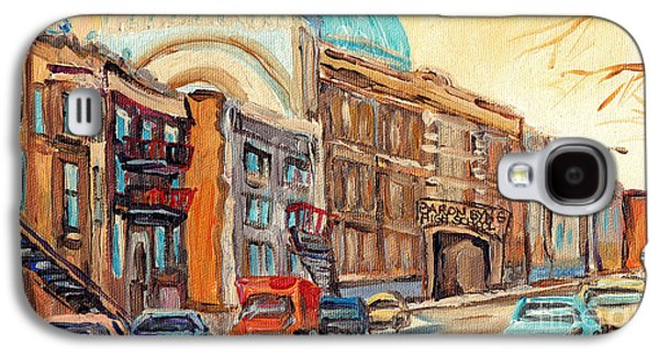 St Urbain Street Scene Baron Byng High School Painting Montreal Memories Carole Spandau              Galaxy S4 Case