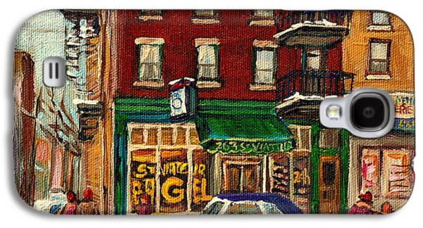 Montreal Neighborhoods Paintings Galaxy S4 Cases - St Viateur Bagel And Mehadrins Deli Galaxy S4 Case by Carole Spandau