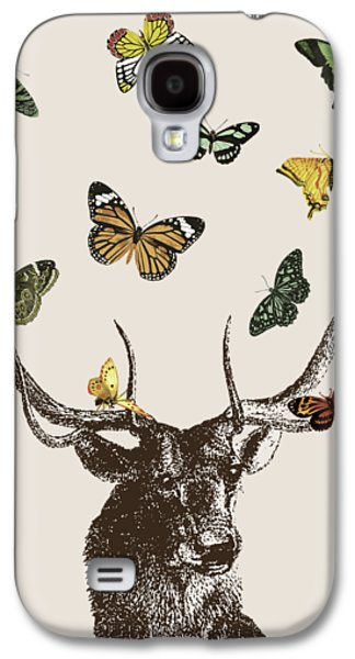 Stag And Butterflies Galaxy S4 Case