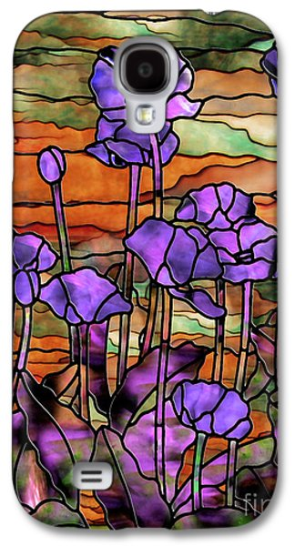 Stained Glass Poppies Galaxy S4 Case by Mindy Sommers