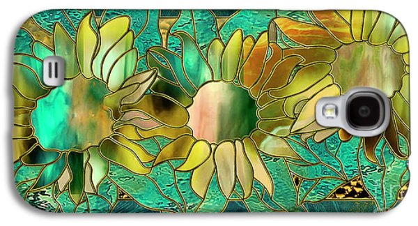 Stained Glass Sunflowers Galaxy S4 Case by Mindy Sommers