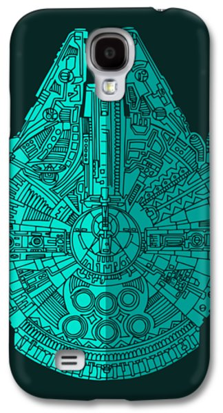 Star Wars Art - Millennium Falcon - Blue 02 Galaxy S4 Case