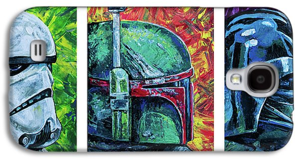 Galaxy S4 Case featuring the painting Star Wars Helmet Series - Triptych by Aaron Spong