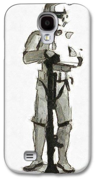 Star Wars Storm Trooper Pencil Drawing Galaxy S4 Case by Edward Fielding