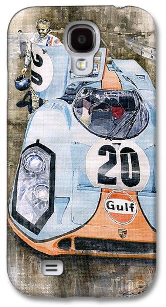 Watercolor Paintings Galaxy S4 Cases - Steve McQueens Porsche 917K Le Mans Galaxy S4 Case by Yuriy  Shevchuk