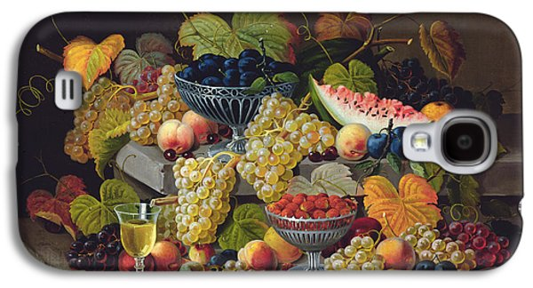 Still Life Of Melon Plums Grapes Cherries Strawberries On Stone Ledge Galaxy S4 Case by Severin Roesen