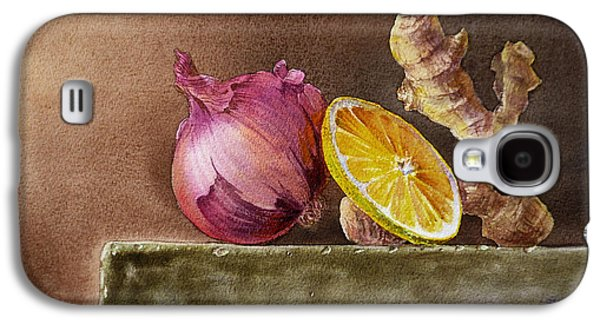 Still Life With Onion Lemon And Ginger Galaxy S4 Case by Irina Sztukowski