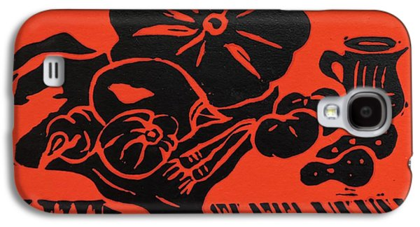Still Life With Veg And Utensils Black On Red Galaxy S4 Case