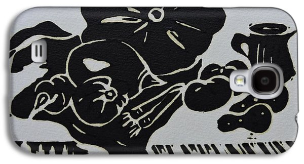 Still-life With Veg And Utensils Black On White Galaxy S4 Case