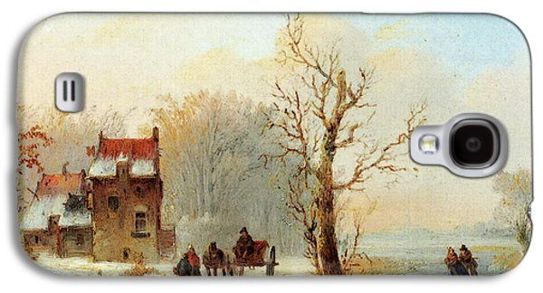 Stok Jacobus Van Der A Winter Landscape With Skaters On A Frozen Waterway And A Horse Drawn Cart Galaxy S4 Case by Jacobus Van Der Stok