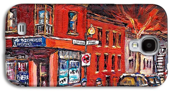 Street Hockey Night Scene Painting 4 Saisons Depanneur Rue St Dominique And Pine Montreal Scene Art Galaxy S4 Case by Carole Spandau