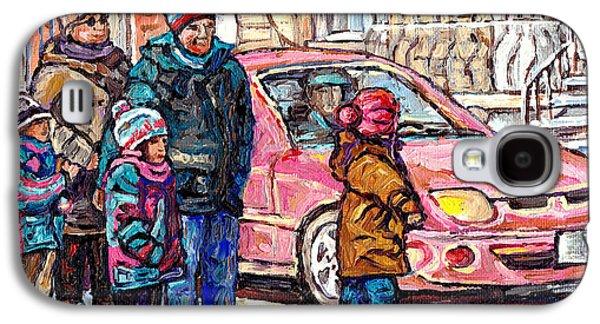 Streets Of Verdun Beautiful Winter Afternoon Family Stroll Canadian Painting Carole Spandau Artist   Galaxy S4 Case