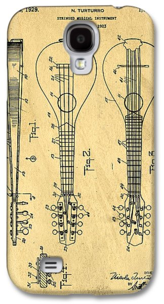 Stringed Musicial Instrument Patent Art Blueprint Drawing Galaxy S4 Case by Edward Fielding