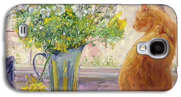 Pheasant Galaxy S4 Case - Striped Jug With Spring Flowers by Timothy Easton