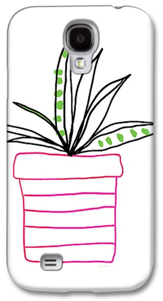 Succulent In A Pink Pot- Art By Linda Woods Galaxy S4 Case by Linda Woods