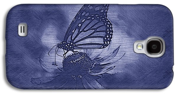 Summer Floral With Monarch Butterfly 02 Blue Galaxy S4 Case by Thomas Woolworth